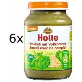 Holle BIO príkrm brokolica s celozrnnou ryžou 6x190g