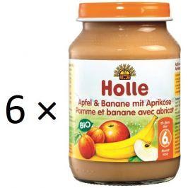 Holle BIO príkrm jablko a banán s marhuľami 6x190g