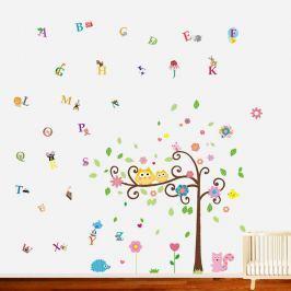 Walplus Samolepky na stenu, malej sovy na strome + písmenká