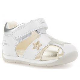 Geox Dievčenské sandále Each - bielo-strieborné