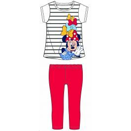 Disney by Arnetta Dievčenský dvojkomplet trička a legín Minnie - bielo-červený
