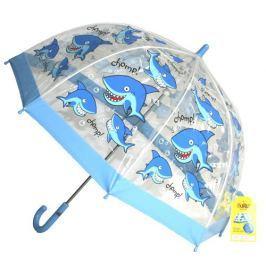 Blooming Brollies Chlapčenský priehľadný dáždnik so žralokmi - modrý