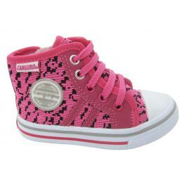 Canguro Dievčenské vzorované členkové tenisky - ružové