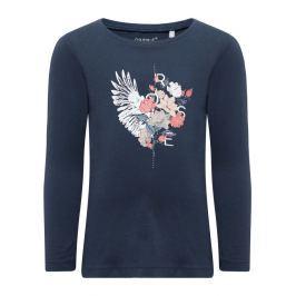 Name it Dievčenské tričko s kvetmi Rose - modré
