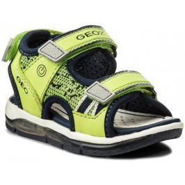Geox Chlapčenské svietiace sandále Todo - zeleno-žlté