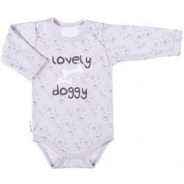 Ewa Klucze Chlapčenské body Lovely doggy - šedé