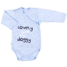 Ewa Klucze Chlapčenské zavinovacie body Lovely doggy - modré