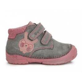 D.D.step Dievčenské členkové topánky so zajačikom - šedo-ružové
