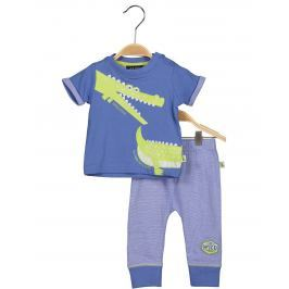 Blue Seven Chlapčenský komplet teplákov a trička s krokodílom - modrý