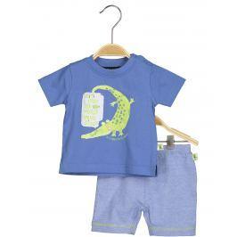 Blue Seven Chlapčenský koplet kraťasov a trička s krokodílom - modrý