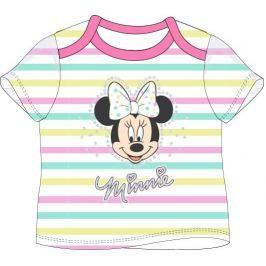 E plus M Dievčenské tričko Minnie s prúžkami - biele