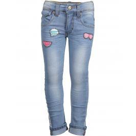 Blue Seven Dievčenské džínsy s nášivkami - svetlo modré