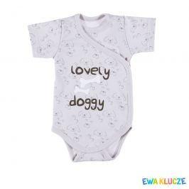 Ewa Klucze Chlapčenské zavinovacie body Lovely doggy - šedé