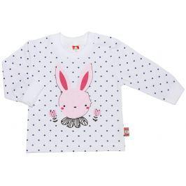 2be3 Dievčenské tričko RABBIT s bodkami - biele