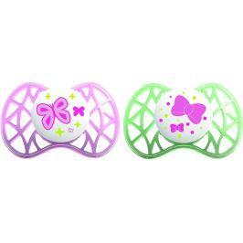 Nuvita Stredné symetrické cumlíky 6m +, Pink and Green
