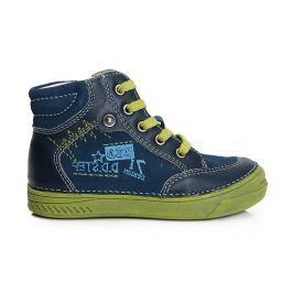 D.D.step Chlapčenské členkové topánky s nápisom - modré