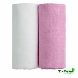 T-tomi Látkové TETRA osušky 100x90, súprava 2ks, biela + ružová