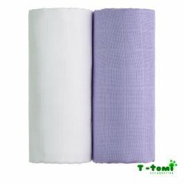 T-tomi Látkové TETRA osušky 100x90, súprava 2ks, biela + fialová