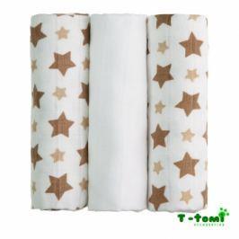 T-tomi Bambusové plienky, sada 3ks, béžovej hviezdičky