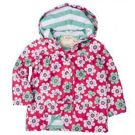Hatley Dievčenské bunda do dažďa s kvietkami - ružovo-zelená