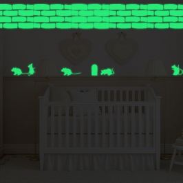 Walplus Svietiaca samolepka na stenu myšky a tehlová stena