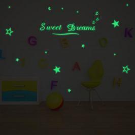 Walplus Svietiace samolepka na stenu Hviezdy & Sweet dreams