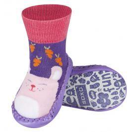 SOXO® Dievčenské ponožky s podrážkou Mačka - fialové