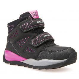 Geox Dievčenské zimné topánky Orizont - čierno-ružové