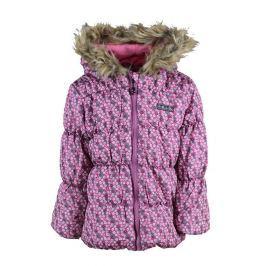 PIDILIDI Dievčenská zimná bunda s kvietkami Puffy - ružová