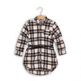Minoti Dievčenská kockovaná košeľa s opaskom Rock - čierno-biela