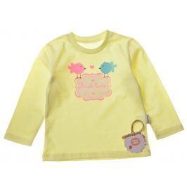 Garnamama Dievčenské tričko s vtáčikmi - žlté