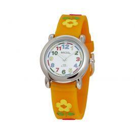 Secco Dievčenské hodinky s kvietkami - oranžové