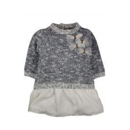Dirkje Dievčenské šaty s mašličkama - šedé