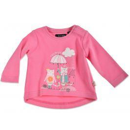 Blue Seven Dievčenské tričko s mačičkami - tmavo ružové