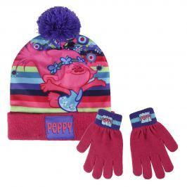 Disney Brand Dievčenské set čiapky a rukavíc Trollovia - ružový