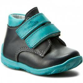 Ren But Chlapčenské celokožené členkové topánky - čierno-tyrkysové