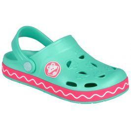 Coqui Dievčenské sandále Froggy - ružovo-mentolové