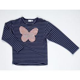 Topo Dievčenské pruhované tričko s motýľom - modré