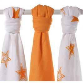 XKKO Bambusové plienky Stars 70x70 cm, 3ks - Orange MIX