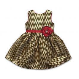 Joe and Ella Dievčenské šaty s kvetinou Bryne - zlaté