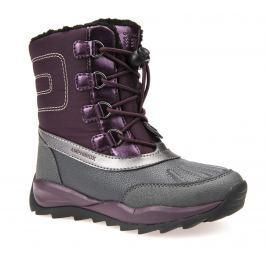 Geox Dievčenské zateplené topánky Orizont - šedo-vínovej