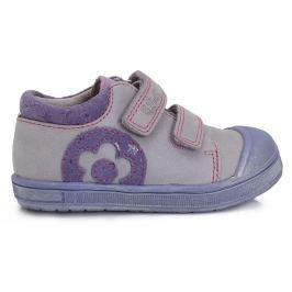 Ponte 20 Dievčenské kožené topánky s kvetinkou- fialové