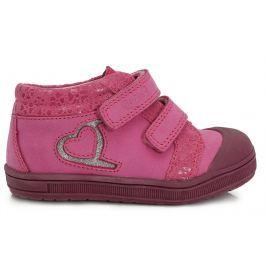Ponte 20 Dievčenské kožené topánky so srdiečkom - ružové