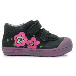 Ponte 20 Dievčenské kožené topánky s kvietkami - čierne