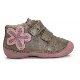 D.D.step Dievčenské členkové topánky s kvetinou - šedo-ružové