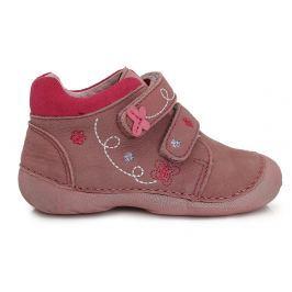 D.D.step Dievčenské členkové topánky s výšivkou - ružové