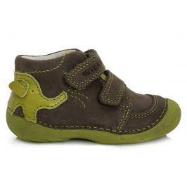 D.D.step Chlapčenské členkové topánky so slonom - hnedo-zelené