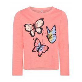 Name it Dievčenské tričko s motýľmi - ružové