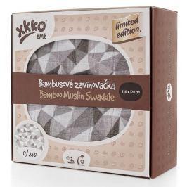 XKKO Bambusová zavinovačka Limited Edition 120x120 cm, Strieborné trojuholníky