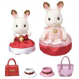 Sylvanian Families Mesto - chocolate 2 králičie kamarátky v elegantných šatách